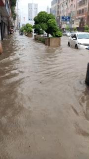 今晨东莞多地受暴雨袭击 部分路段积水较深
