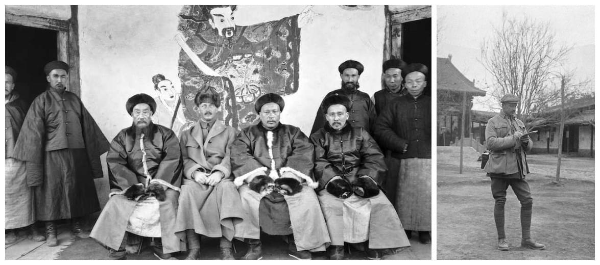 三:曼纳海姆在新疆考察期间与地方官员合景,右图是曼纳海姆在兰州