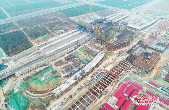 淄博北站公交枢纽主体完工 信号楼将于下月中旬建成