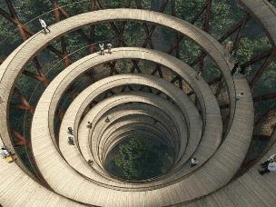 丹麦森林建环保观景木塔 未来感十足