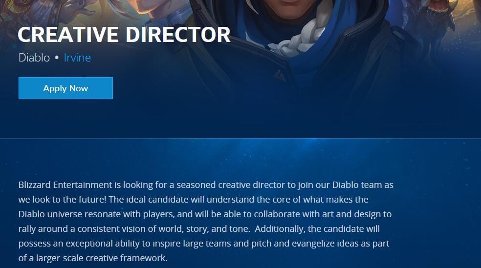 机会来了!暗黑3项目组公开招聘创意总监