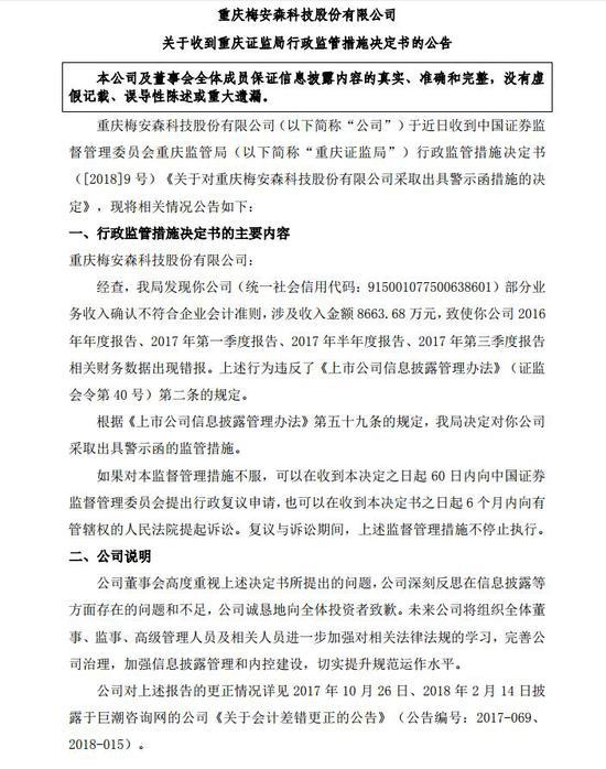 梅安森收到重庆证监局行政监管措施决定书