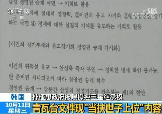 朴槿惠被曝操控三星继承权 文件现当扶世子上位
