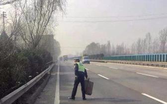 高速路上货物散落留隐患 交警及时清理保平安