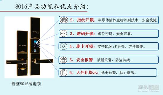 """2017""""葵花""""奖智能锁评选参选作品:普鑫8016"""