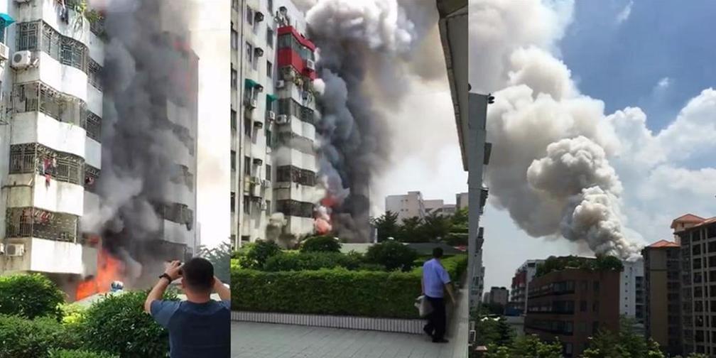 突发!东莞东城一住宅楼爆炸起火