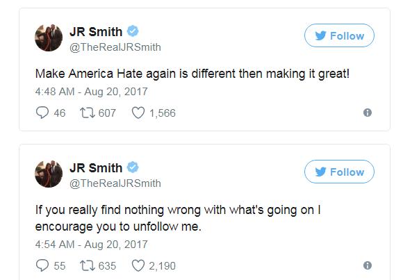 誓死追隨LBJ!JR發飆批特朗普:你讓種族仇恨升溫