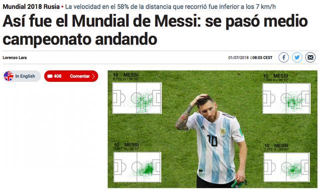 马卡:梅西世界杯一半时间在散步