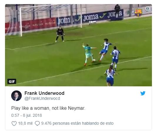 名记转发巴萨女足进球视频:内马尔,你连女人都不如