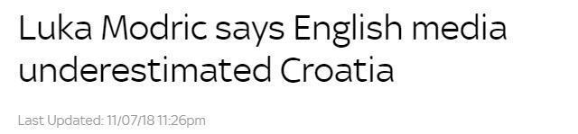 莫德里奇:英媒低估了克罗地亚,还是谦虚点好