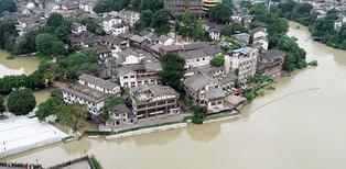航拍重庆洪峰过境
