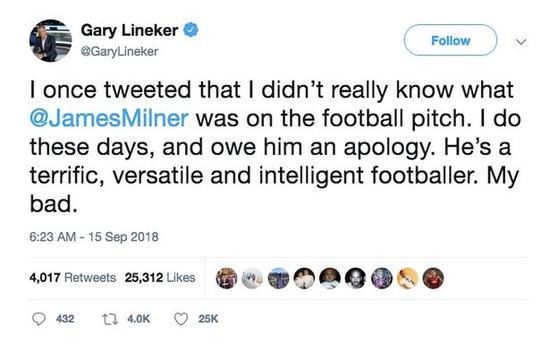 莱因克尔的道歉推特