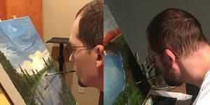 画家失去双臂 用嘴作画重拾希望