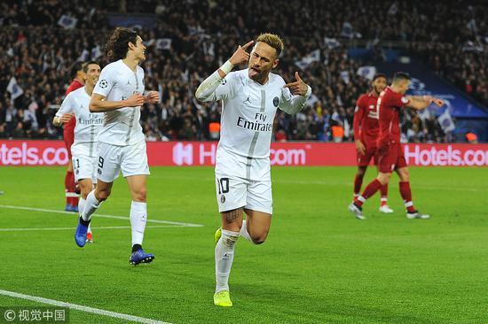 欧冠-内马尔破门米尔纳点射 巴黎主场2-1利物浦