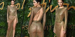 超模肯豆穿金属薄纱开叉裙 大秀好身材