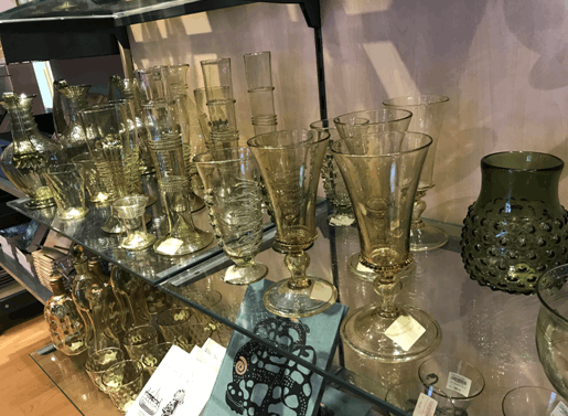 瑞典礼品店内的玻璃制品