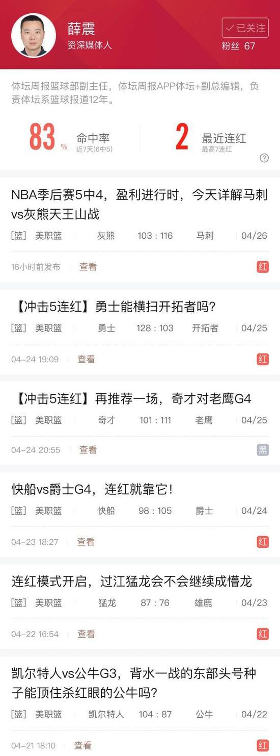体坛周报副总编薛震近6中5 樱木篮球思维近7中6