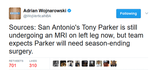 馬刺官方認為帕克需手術 本賽季季後賽已經報銷