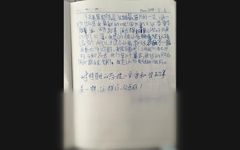 陈欣然九岁时的日记,喜欢体育跃然纸上,下面是陈刚的评语