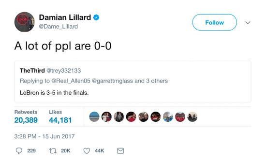 利拉德挺詹皇:8進總決賽僅3冠?很多人還0勝0負呢