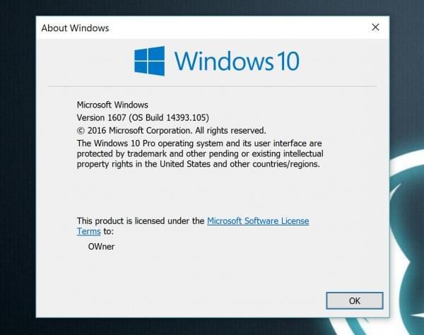 KB3176938累积更新发布 Windows 10版本号至14393.105的照片 - 1