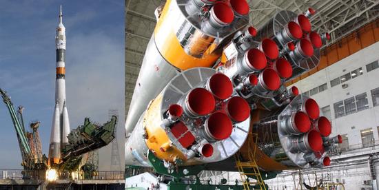 联盟火箭及四个助推器特写(图片来源:NASA)
