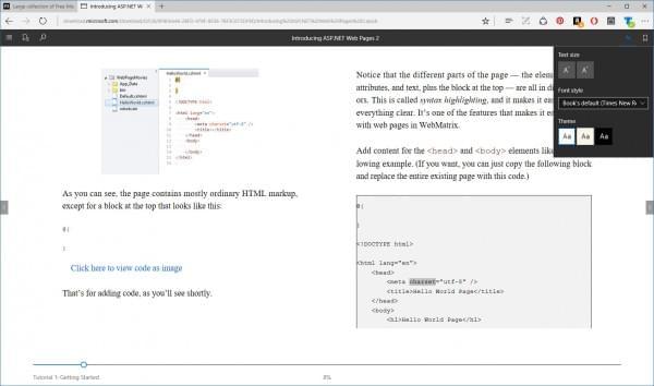 Edge浏览器现已支持阅读EPUB电子书格式的照片