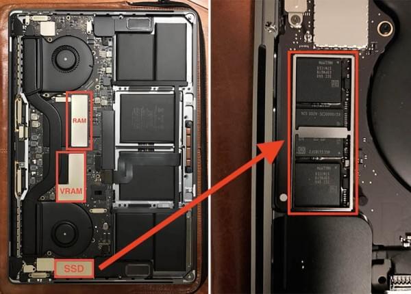 带有OLED触摸栏的MacBook Pro无法更换固态硬盘的照片