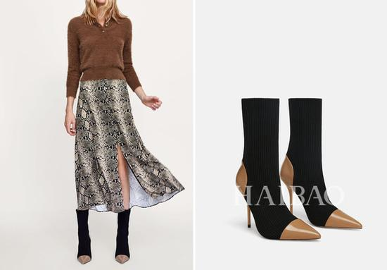 Zara拼接面料高跟短靴? 599