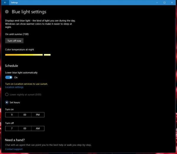 微软Windows 10内测版新增蓝光过滤器的照片
