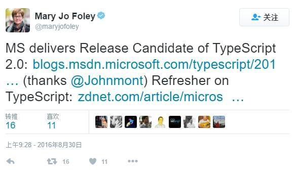 微软即将发布TypeScript 2.0:候选发布版本已放出的照片 - 2