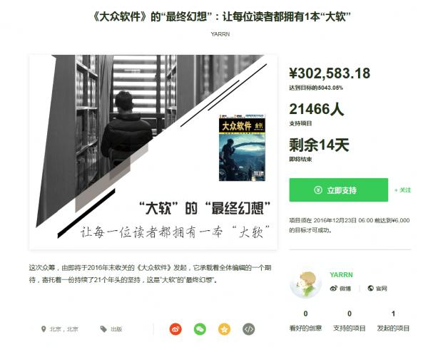 《大众软件》停刊众筹超目标4698倍:网友无偿支持的照片 - 1