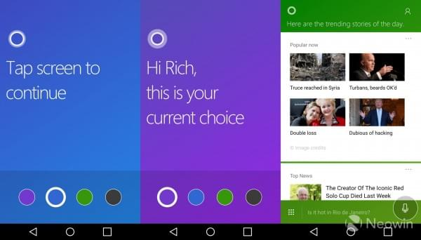 Android端Cortana应用更新:可自定义四种背景颜色的照片