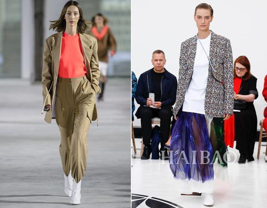 左:Tibi 2018秋冬系列 右:维多利亚·贝克汉姆 (Victoria Beckham) 2018秋冬系列