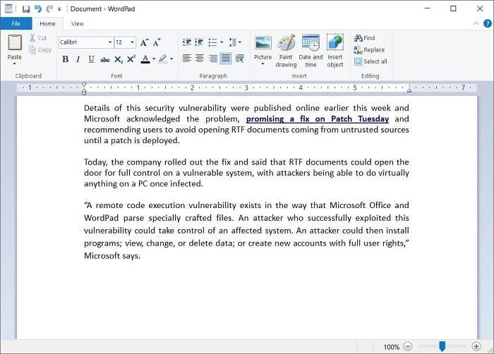 微软为Office和写字板软件发布零日漏洞补丁的照片 - 2