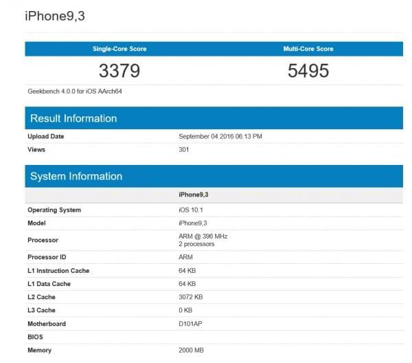 疑似iPhone 7 Plus A10处理器跑分曝光的照片 - 2