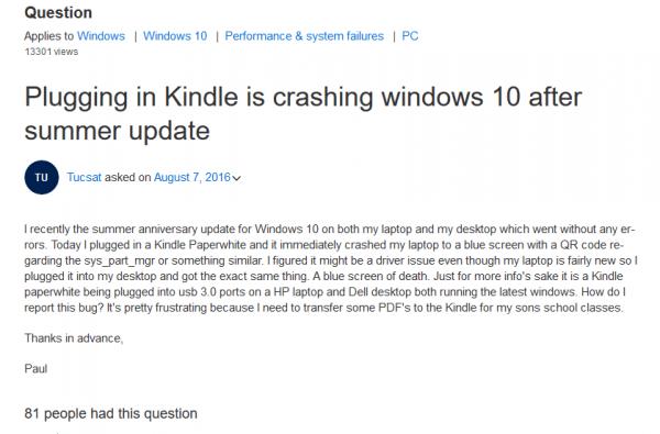 Windows 10一周年更新版插入Kindle会导致蓝屏死机的照片