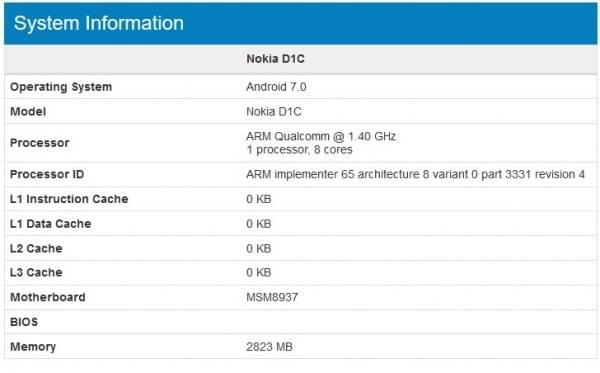 诺基亚D1C曝光:骁龙430+安卓7.0的照片 - 2