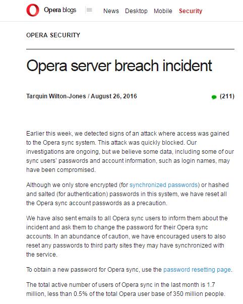 Opera浏览器遭黑客攻击:官方敬告用户尽快修改密码的照片 - 2