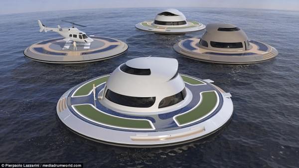 意设计师设计UFO形状游艇 两年后实现飞行功能的照片 - 3