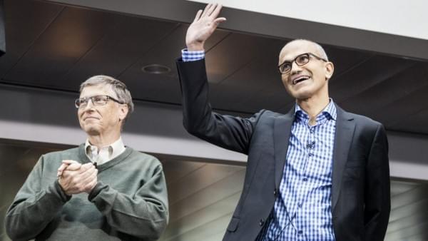 纳德拉的微软CEO职业生涯即将步入第4个年头的照片