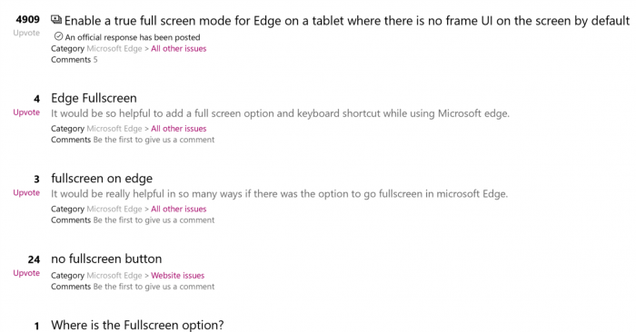 Win10用户可以通过快捷键呼出Edge浏览器的真全屏模式的照片