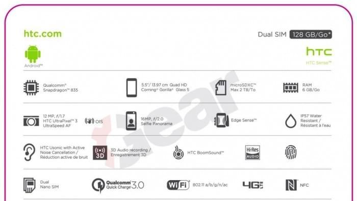 HTC U 11完整规格参数曝光的照片 - 3