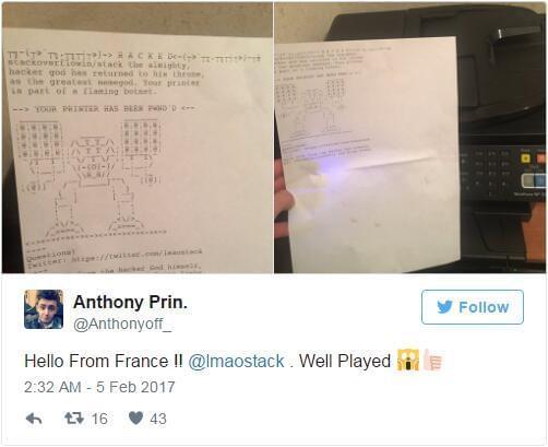 黑客入侵了 16 万打印机:然后打印出了有趣的 ASCII 码图案