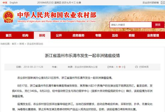 中国第4个非洲猪瘟疫情区出现 猪肉价格或受影响