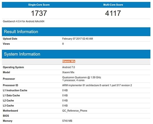 小米MIX MIUI 8携Android 7.0系统现身GeekBench的照片 - 2