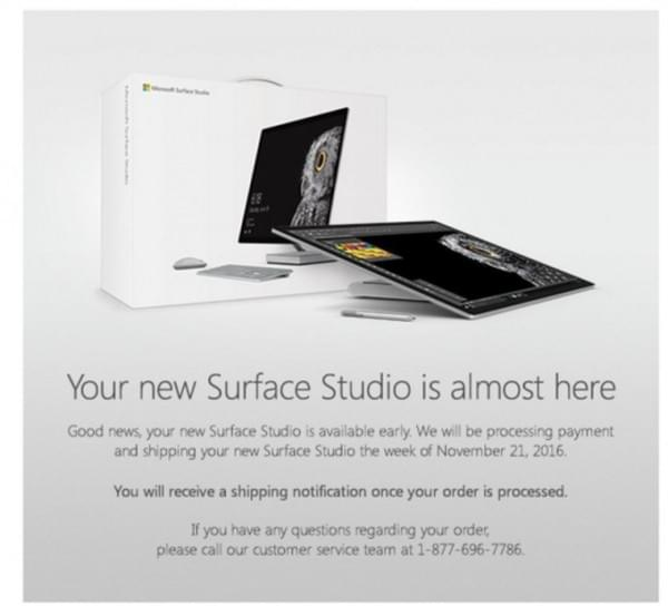 微软邮件告知首批Surface Studio预订用户:将于本周开始发货的照片