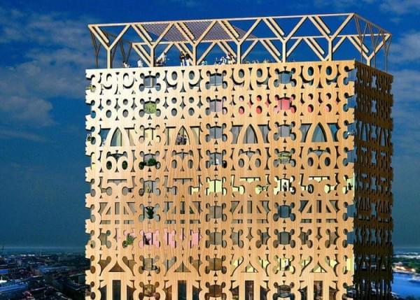 """""""树屋""""设计到80层了 木材也能建摩天楼?的照片 - 6"""