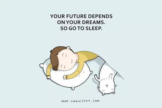 英文漫画:梦想决定未来 所以赶紧去睡觉!