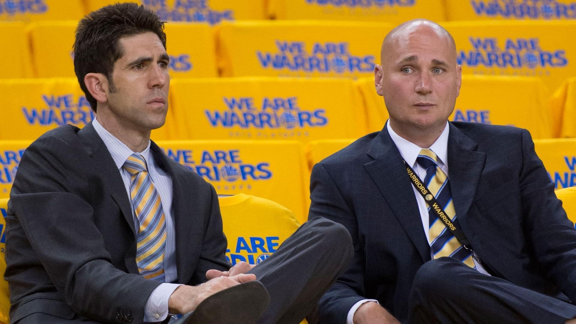 舒倫克(右)與勇士總經理邁爾斯